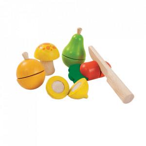 Set de joaca 6 piese multicolor din lemn Fruits and Vegetable Plan Toys