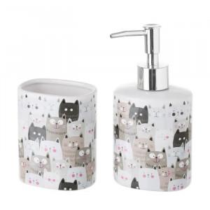 Set dispenser si suport din ceramica Cats Elle Unimasa