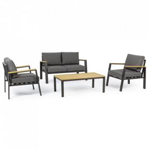 Set masa cafea cu banca si 2 scaune lounge gri carbune/maro din aluminiu si lemn pentru exterior Harbor Bizzotto