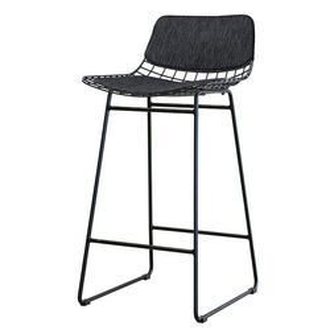 Set perne bumbac negru pentru sezut si spatar scaun bar HK Living