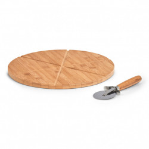 Set platou si cutit maro din lemn si metal pentru servire pizza 32 cm Kora Zeller