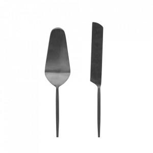 Set spatula si cutit negre din inox pentru desert Fer Kave Home