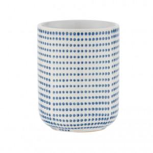 Suport alb/albastru din ceramica pentru periuta dinti 7,5x9,5 cm Nole Wenko