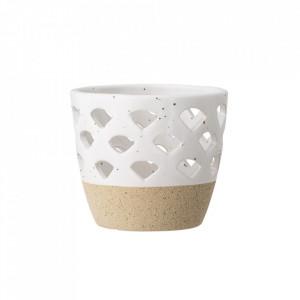 Suport alb din ceramica pentru lumanare 8 cm Rena Bloomingville