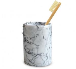 Suport alb pentru periute dinti din marmura 11 cm Harriet White Zangra