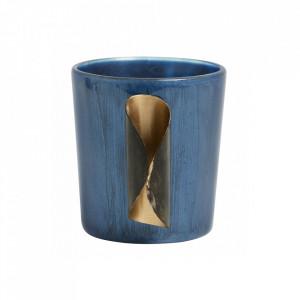 Suport albastru din sticla pentru lumanare 7,5 cm Leticia Nordal