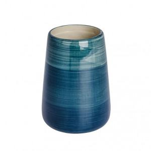 Suport albastru petrol din ceramica pentru periuta dinti 8x11 cm Pottery Wenko