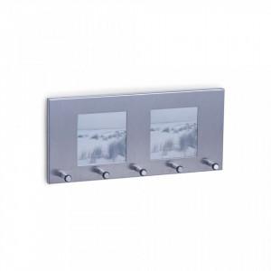 Suport argintiu din inox pentru chei cu rama foto Key Photo Frame Zeller