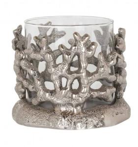 Suport din sticla si aluminiu pentru lumanare 11,5 cm Mae Richmond Interiors