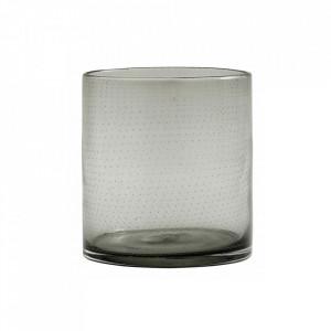 Suport gri fum din sticla pentru lumanare 16 cm Bubble Nordal