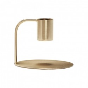 Suport lumanare auriu din metal 6 cm Louella Hubsch