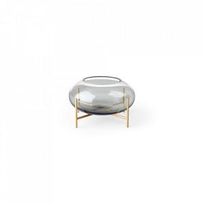 Suport lumanare gri/auriu din sticla si alama 8,5 cm Echasse Smoke Brass Menu