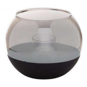 Suport lumanare neagra/gri din sticla 12 cm Annelles Ixia