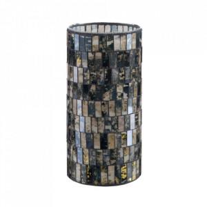 Suport lumanare negru din sticla 25 cm Maloa Ixia