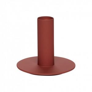 Suport lumanare rosu bordo din metal 8 cm Derek Hubsch