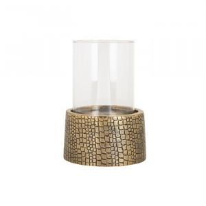 Suport lumanare transparent/auriu din sticla si aluminiu 24 cm Irvin Richmond Interiors