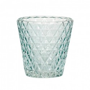 Suport lumanare verde din sticla 10 cm Riley Hubsch