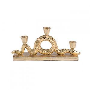 Suport lumanari auriu din aluminiu 15 cm Keep The Snakes Away Bold Monkey