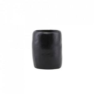 Suport negru din teracota pentru periuta dinti 7,5x9 cm Earth House Doctor