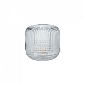 Suport transparent din sticla 13 cm pentru lumanare Grid Lantern Vase Small Bolia