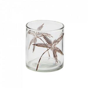 Suport transparent din sticla pentru lumanare 8 cm Palm Madam Stoltz