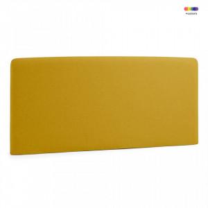 Tablie pat galben mustar din lemn si textil 168 cm Lydia Mustard La Forma