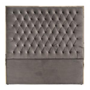 Tablie pat gri piatra/aurie din catifea si inox 180 cm Lowell Richmond Interiors