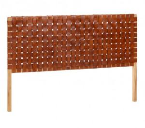 Tablie pat maro din lemn de tec si piele 153 cm Rachell La Forma