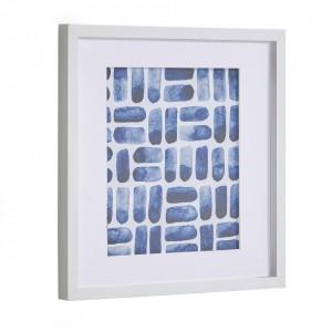 Tablou alb/albastru din hartie si MDF 40x40 cm Kuma Kave Home