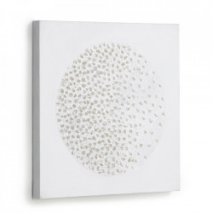 Tablou alb din canvas si lemn de pin 40x40 cm Adys Kave Home