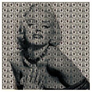 Tablou crem/negru din sticla 120x120 cm Marilyn Ter Halle