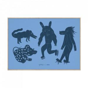 Tablou cu rama din lemn de stejar 50x70 cm Four Creatures Blue Paper Collective