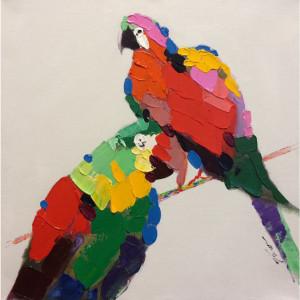 Tablou multicolor din canvas si lemn 90x90 cm Macaw Ter Halle