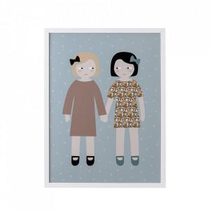 Tablou multicolor din lemn si plexiglas 32x42 cm Sisters Bloomingville Mini