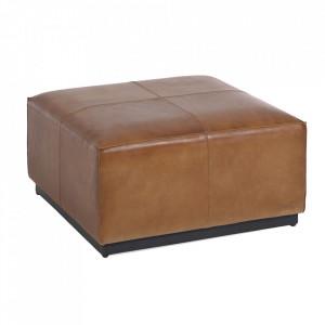 Taburet pentru picioare patrat maro din piele de bivol 70x70 cm Cesia Kave Home