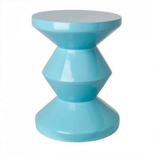 Taburet rotund albastru din poliester lacuit 33,5 cm Zig Zag Pols Potten