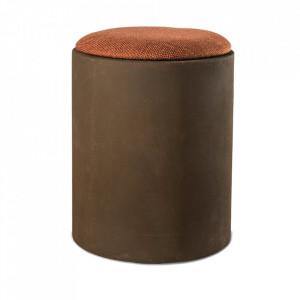 Taburet rotund maro din textil si MDF 35 cm Cap Pols Potten