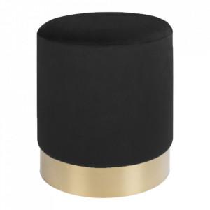 Taburet rotund negru din catifea si otel 34 cm Gamby House Nordic