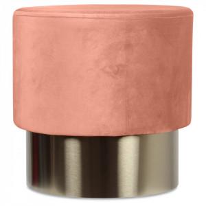 Taburet roz prafuit din catifea cu baza aurie din metal 35x35 Serge Opjet Paris