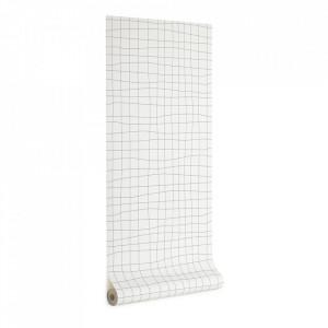 Tapet alb/gri din hartie 53x1000 cm Saori Kave Home