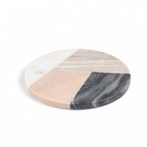 Tocator multicolor rotund din marmura 20 cm Bradney Kave Home