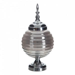 Vas decorativ argintiu din metal si sticla 41 cm Tibra Ixia