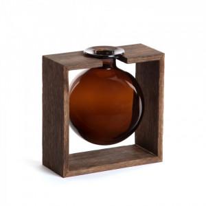 Vaza maro din sticla cu suport lemn 20 cm Ademia Small La Forma