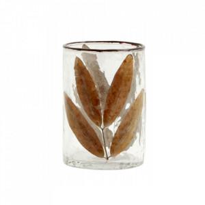 Vaza transparenta/maro din sticla 10 cm Leaves Nordal