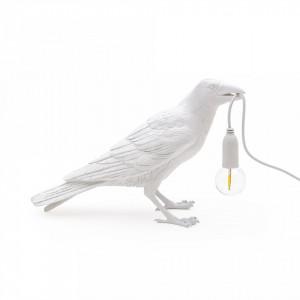 Veioza alba din rasina 10,5 cm Bird Waiting Seletti