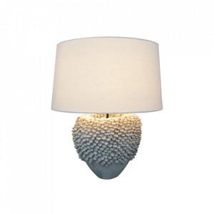 Veioza alba din textil si ceramica 55 cm Ciarra Invicta Interior