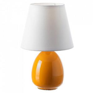 Veioza alba/portocalie din textil si ceramica 24 cm Paulina Unimasa