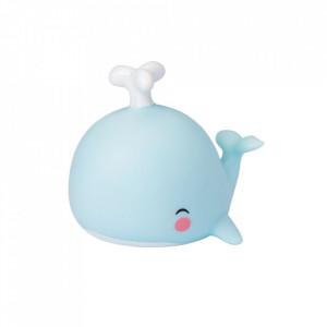 Veioza albastra din PVC cu LED 10 cm Whale A Little Lovely Company
