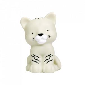 Veioza gri/alba din PVC cu LED 14 cm Tiger A Little Lovely Company