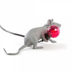 Veioza gri din rasina 8,1 cm Mouse Lop Seletti